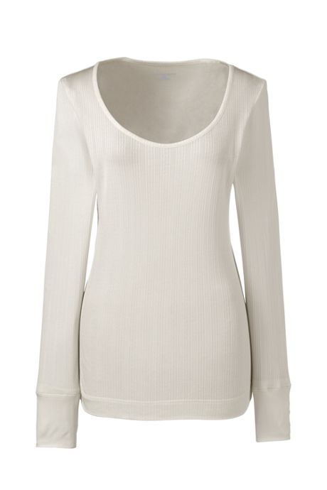 Women's Petite Base Layer Long Underwear Silk Scoopneck Top