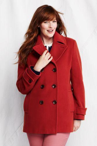 Luxe-Cabanjacke aus edlem Wollmix für Damen in Plusgröße