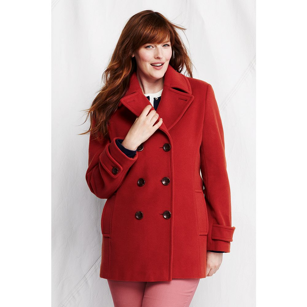 Lands' End Women's Plus Size Luxe Wool Pea Coat at Sears.com