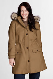 Women's Plus Size Faux Fur Hood Wool Parka