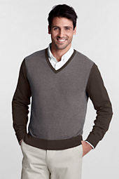 Men's Fine Gauge Cotton Herringbone V-neck Sweater