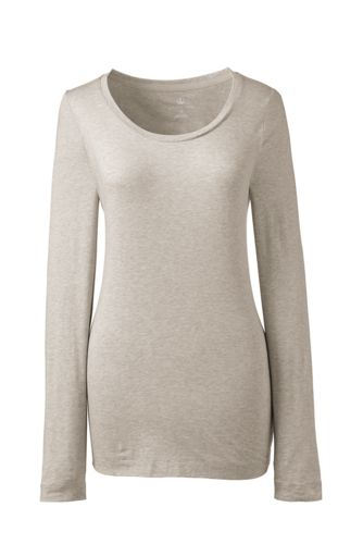 Women's Regular Long Sleeve Cotton/Modal Plain Scoop Neck Tee