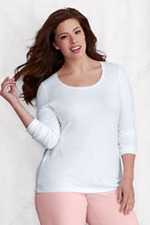 Women's Long Sleeve Fitted Lightweight Cotton Modal Scoop T-shirt