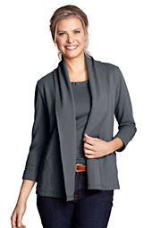 Women's Starfish 3/4-sleeve Terry Drape Cardigan