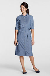 Women's Solid Chambray Pintuck Bib Shirtdress