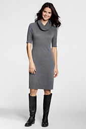 Women's Half-sleeve Cowlneck Sweater Dress