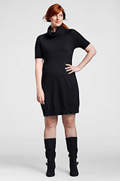 Women's Plus Size Half Sleeve Cowlneck Sweater Dress