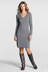 Women's Long Sleeve Cable V-neck Sweater Dress