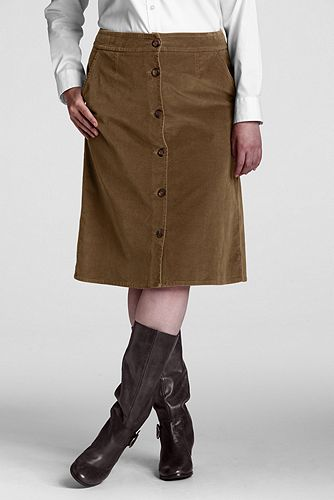 Women%27s+Plus+Size+Button-front+21-wale+Corduroy+Skirt