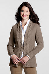 Women's Cotton Rib Waist Cardigan Sweater