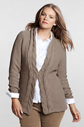 Women's Plus Size Cotton Rib Waist Cardigan Sweater