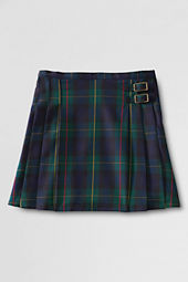 Girls' Pleated Plaid Woven Side Buckle Skirt