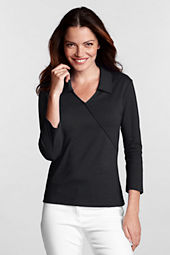 Women's 3/4-sleeve Interlock Wrap Knit Shirt