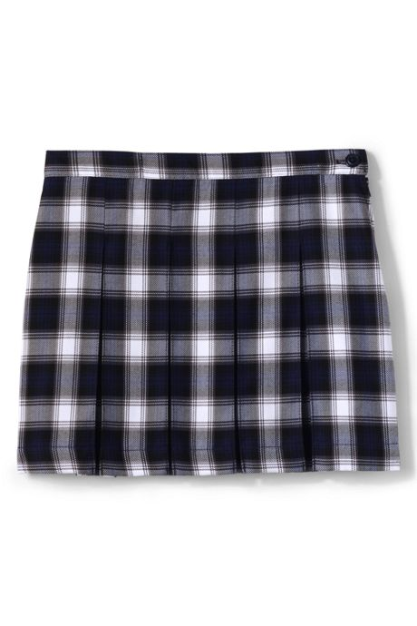 School Uniform Custom Girls Plaid Box Pleat Skirt Above Knee