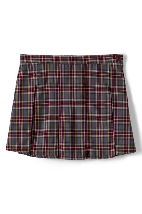 School Uniform Custom Women's Plaid Box Pleat Skirt Above Knee