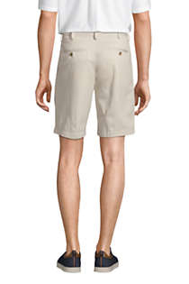 "Men's Traditional Fit Pleated 9"" No Iron Chino Shorts, Back"