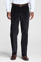 Men's Pleat Front Traditional Comfort Waist Wide Wale Cord Trousers