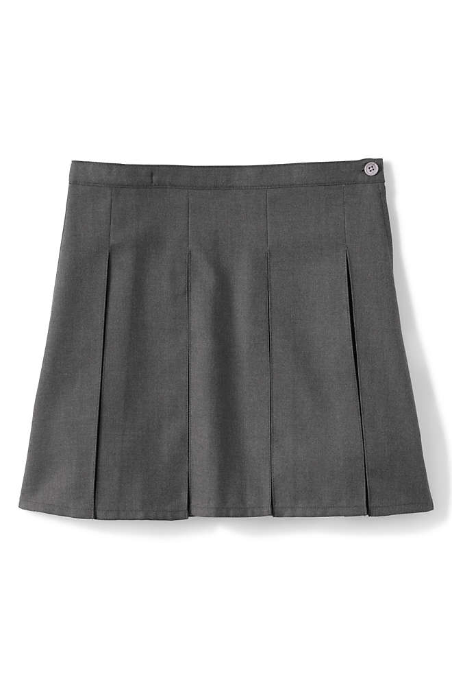 School Uniform Girls Solid Box Pleat Skirt Top of Knee, Front