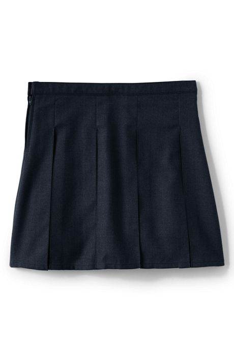 Girls Solid Box Pleat Skirt Top of Knee