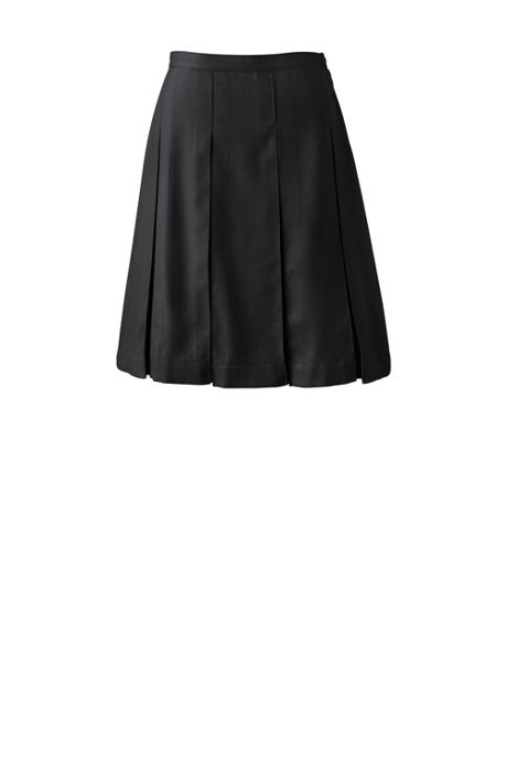 School Uniform Women's Solid Box Pleat Skirt Top of Knee