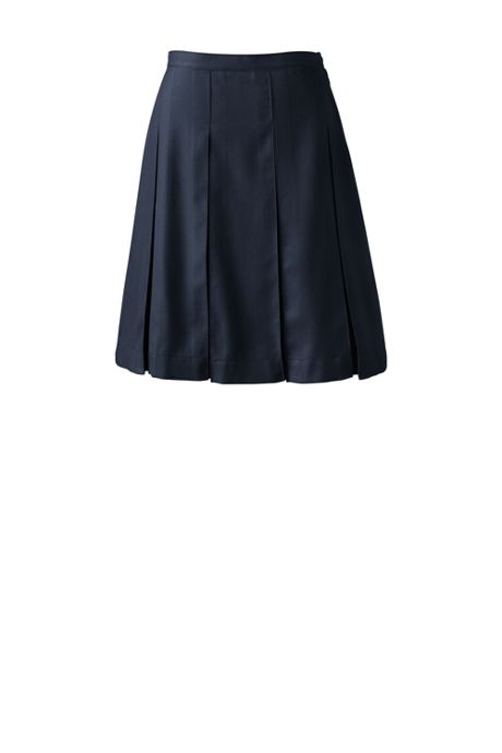 School Uniform Women's Plus Size Solid Top of Knee Box Pleat Skirt
