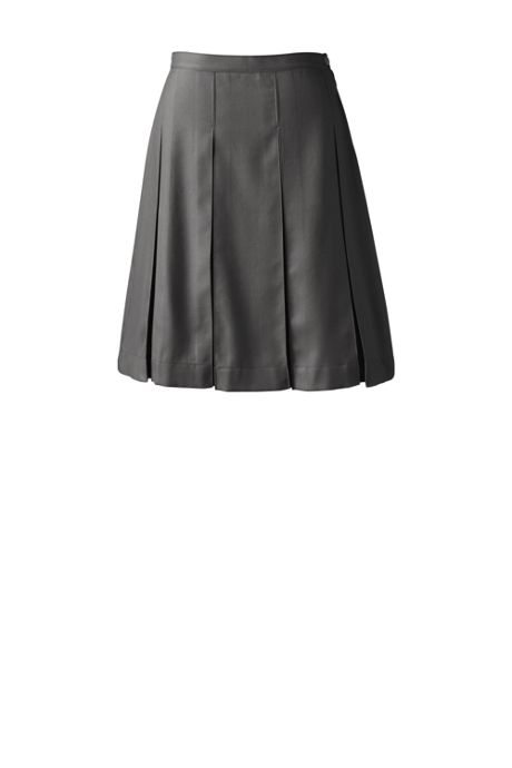School Uniform Women's Tall Solid Box Pleat Skirt Top of Knee