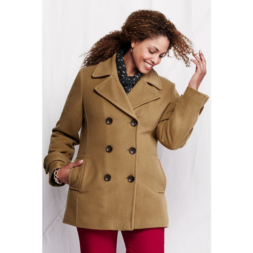 Lands' End Women's Plus Size Luxe Wool Insulated Pea Coat at Sears.com