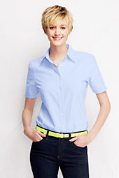 Women's Short Sleeve Straight Collar Oxford Sportshirt