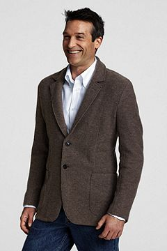Wool Jersey 2-button Jacket 407961: Light Brown Heather