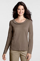 Women's Lightweight Jersey Pleated Ruffle Scoopneck Top