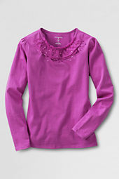 Girls' Long Sleeve Ruffleneck Sequin T-shirt