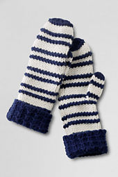 Women's Raised Stripe Cashmere Blend Mittens
