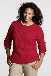 Women's Plus Size Long Sleeve Blend Cable Crew Sweater