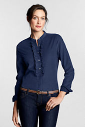 Women's Long Sleeve Corduroy Ruffle Shirt