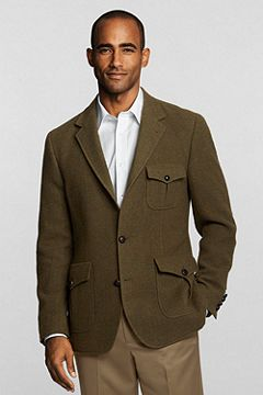 Tailored Fit Wool Melange Two-button Jacket 408780: Olive Wool Melange