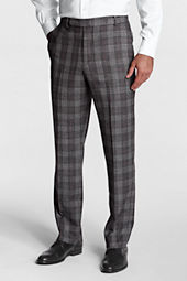 Men's Plain Front Tailored Fit Pattern Flannel Trouser
