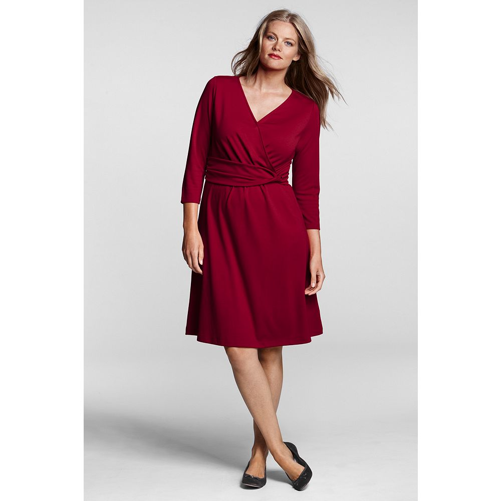 Lands' End Women's Plus Size Ponte Twist Waist Dress at Sears.com