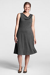 Women's Plus Size Sleeveless Ponté Drapeneck Dress