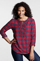 Women's Plus Size Long Sleeve Flannel Ruffle Popover Shirt