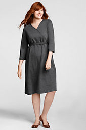 Women's Plus Size 3/4-sleeve Ponté Surplice Knit Dress