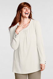 Women's Plus Size Lightweight Jersey Woven Trim Tunic