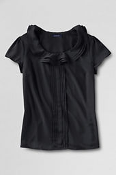 Women's Short Sleeve Ruffle Collar Shirt