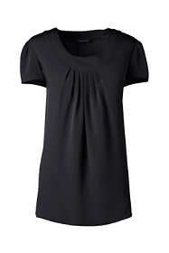 Women's Tall Short Sleeve Pleated Soft Blouse