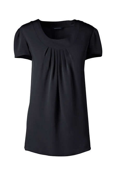 Womens Short Sleeve Pleated Soft Blouse