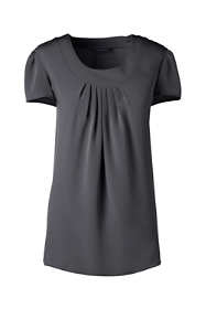 Women's Short Sleeve Pleated Soft Blouse