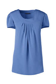 School Uniform Women's Petite Short Sleeve Pleated Soft Blouse