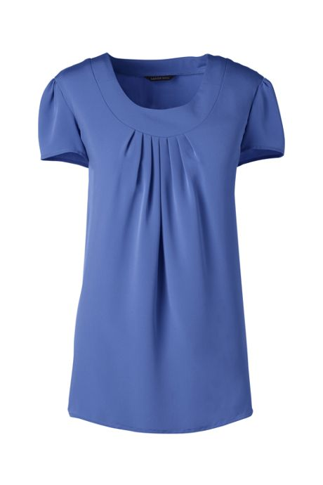Women's Petite Short Sleeve Pleated Soft Blouse