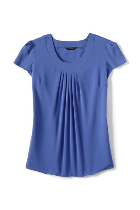 Women's Petite Short Sleeve Pleated Soft Blouse