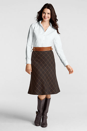 Women's Plus Size Windowpane Flare Skirt - Dark Mahogany Large Windowpane, 18W