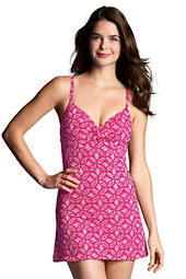 Women's Beach Living Batik Dot Twist Front Swimdress